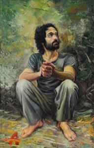 A Seated Man. 2014 Oil on canvas. 90x55 cm.
